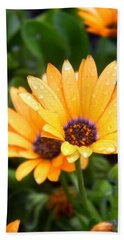 Yellow Colored Petals Beach Towel