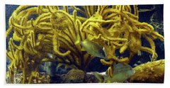 Beach Towel featuring the photograph Yellow Coral Dance by Francesca Mackenney