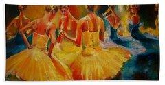 Yellow Costumes Beach Sheet by Khalid Saeed