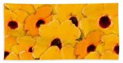 Yellow Daisy Flowers Beach Towel