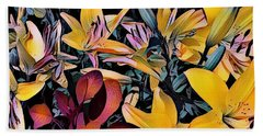 Yellow Daylilies Beach Sheet by Kathie Chicoine