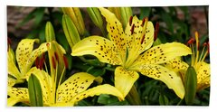 Beach Towel featuring the photograph Yellow Lilies by William Selander