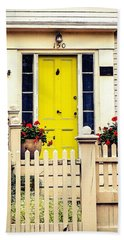 Beach Towel featuring the photograph Yellow Door by Kendall McKernon