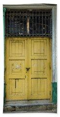 Yellow Doors Cuba Beach Sheet by Perry Webster