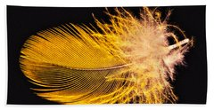 Yellow Feather Macro Beach Towel