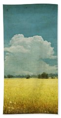 Yellow Field On Old Grunge Paper Beach Towel