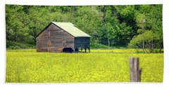 Yellow Field Rustic Shed Beach Towel