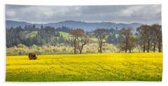 Yellow Fields Along The Eel River Beach Towel by Mark Alder