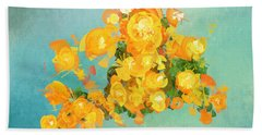 Yellow Fire Spring Beach Towel