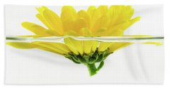 Yellow Flower Floating In Water Beach Towel