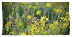Yellow Flowers Beach Sheet by Kelly Wade