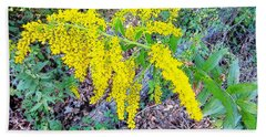 Yellow Flowers On Green Beach Towel