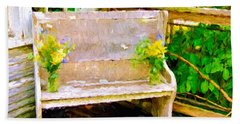 Yellow Flowers On Porch Bench Beach Towel