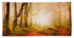 Yellow Forest Mist Beach Towel