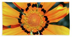 Beach Towel featuring the photograph Yellow Gazania By Kaye Menner by Kaye Menner