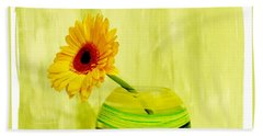 Yellow Gerber Matching Vase Beach Towel