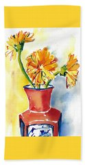 Yellow Gerbera Daisies In A Red And Blue Delft Vase Beach Sheet