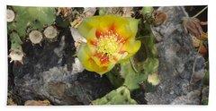 Yellow Cactus Flower Blossom Beach Sheet
