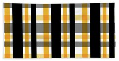 Beach Towel featuring the photograph Yellow Gold And Black Plaid Striped Pattern Vrsn 1 by Shelley Neff