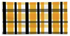 Beach Towel featuring the photograph Yellow Gold And Black Plaid Striped Pattern Vrsn 2 by Shelley Neff
