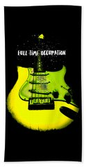 Beach Sheet featuring the photograph Yellow Guitar Full Time Occupation by Guitar Wacky
