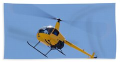 Yellow Helicopter Beach Towel