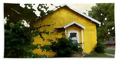Beach Towel featuring the digital art Yellow House In Shantytown  by Shelli Fitzpatrick