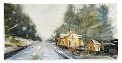 Yellow House On The Right Beach Sheet by Judith Levins