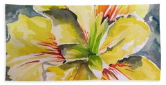 Yellow Iris Beach Towel by Holly York