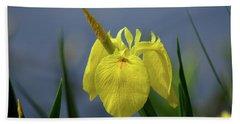 Yellow Iris Beach Towel by Jean Haynes