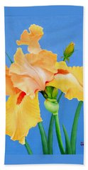 Beach Towel featuring the painting Yellow Iris by Jimmie Bartlett