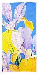 Beach Towel featuring the painting Yellow Irises-posthumously Presented Paintings Of Sachi Spohn  by Cliff Spohn