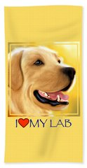 Yellow Lab Portrait Beach Sheet