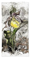 Yellow Lady's Slipper Beach Towel