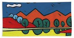 Beach Towel featuring the painting Yellow Lake by SpiritPainter