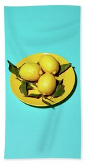 Yellow Lemons On Cyan Beach Sheet by Oleg Cherneikin