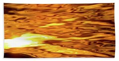 Yellow Light On Water  Beach Towel by Lyle Crump