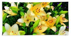 Beach Towel featuring the photograph Yellow Lilies 2 by Randall Weidner