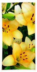 Yellow Lilies 3 Beach Towel by Randall Weidner