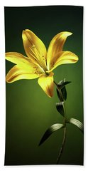 Yellow Lilly With Stem Beach Towel