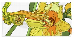 Yellow Lily And Bud, Graphic Beach Towel
