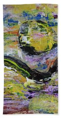 Yellow Moon Abstract Beach Towel