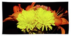 Yellow Mums And Orange Lilies  Beach Sheet