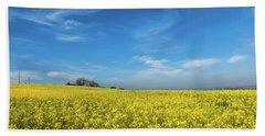 Yellow Oilseed Rape With Vivd Blue Sky Beach Towel