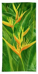 Yellow Orange Heliconia With Leaves Beach Towel