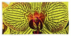 Beach Sheet featuring the digital art Yellow Orchid Bloom In Fauvism by Kirt Tisdale