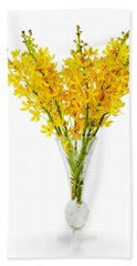 Yellow Orchid In Crystal Vase Beach Sheet by Atiketta Sangasaeng