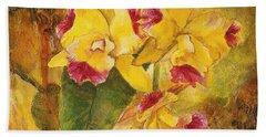 Yellow Orchids Acrylic Beach Towel