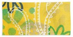 Yellow Paisley Garden Beach Towel