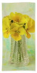 Yellow Pansies In Vase  Beach Towel by Sandra Foster